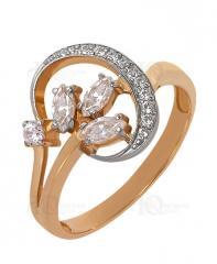 Кольцо золотое 585 пробы с фианитами, кольцо из
