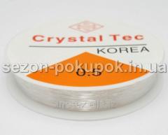Силиконовая нить резинка (прозрачная) для бижутерии 0,5 мм 14 метров (круглое сечение) (ф#сп7нг-4673)