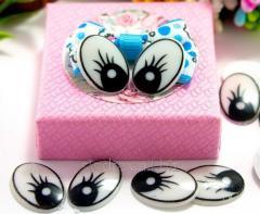 (10грамм 30шт) Пластиковые овальные глазки для игрушек 19х13мм с ресничками (сп7нг-0677)
