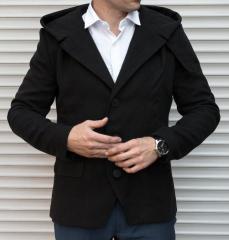 Молодежное мужское пальто - тренч ,  черного...