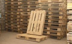 Second-hand cargo wooden pallets of the first and