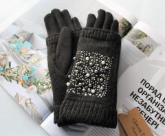 Женские теплые перчатки, вязка бусинами черные