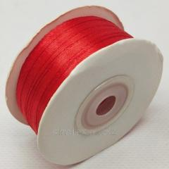 Лента атласная 0,3 см. (3мм) красная (СИНДТЕКС-0782)
