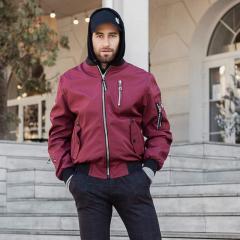 Куртка мужская ветровка бордовый, размер 50