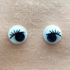 (10 грамм,Ø8мм) Подвижные глазки с ресничками для игрушек Ø8мм (СИНДТЕКС-0831)