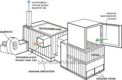 The heatgenerator for drying of grain on damp