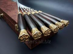 A set of Skewers the Falcon From 6 Pieces In the Leather Quiver