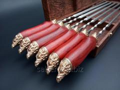 Skewers the Wild boar with bronze handles in a case dark brown marble, 6 pieces