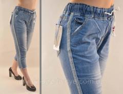 Бриджи женские джинсовые с серебристой полосой и