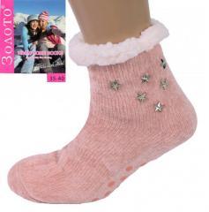 Розовые тапочки-носки со звездами домашние...