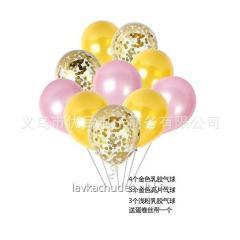 Рожевий + золото набір 11 шт (кульки латексні)
