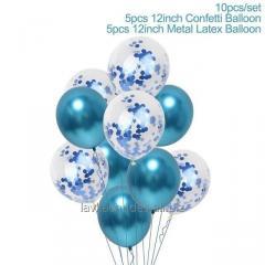 """Кулі з синім конфетті і хром 12"""" кулі"""
