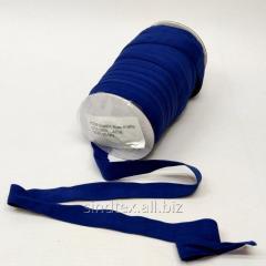 А-038 Трикотажная окантовочная бейка (стрейч. эластичная) 2см х 50ярдов (синяя) (СИНДТЕКС-0841)