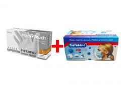Перчатки латексные опудрени MedTouch + Маска