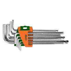 Ключи шестигранные 9шт 1.5-10мм CrV (средние шар)