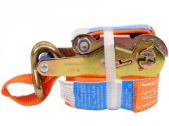 Лента для стяжки груза-трещотка и крюки 4м Vorel