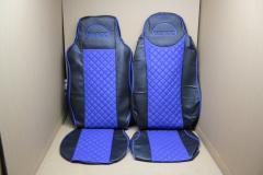 Чехлы на сиденья Man TGX экокожа с синей вставкой