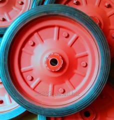 Wheel to a wheelbarrow strengthened
