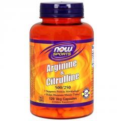 Аргинин и Цитрулин,  500мг\250 мг,  Now...