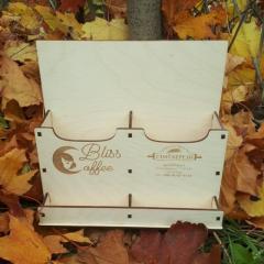 Деревянная коробка для флаеров визиток с...