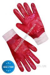 Перчатки МБС с красным покрытием эластичный манжет