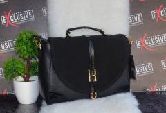 Классическая женская сумка с замшевой лицевой