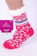 Розовый домашние полушерстяные тапочки-носки