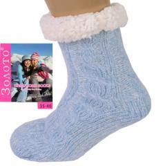 Голубые тапочки-носки домашние полушерстяные