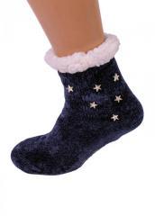 Темно-синие тапочки-носки домашние полушерстя