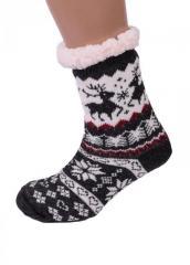 Черные домашние полушерстяные тапочки-носки...