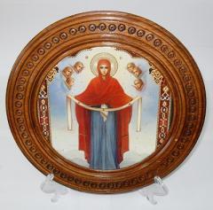 Деревянная тарель «Дева Мария»,  к.569