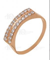Золотое кольцо 585 пробы с фианитами, красное