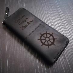 C именной гравировкой/логотипом | Кожаный кошелек
