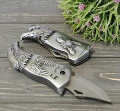 Зажигалка с ножом Орел серебристая
