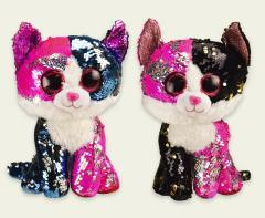 Мягкая игрушка PL0664 (24шт) кошки глазастики