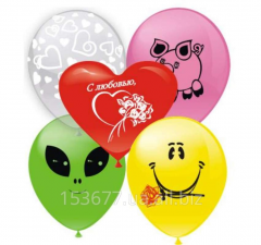 Balloons with drawings, logos