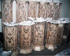 Элементы иконостаса, элементы декора церковной утвари из дерева липа, дуб и груша