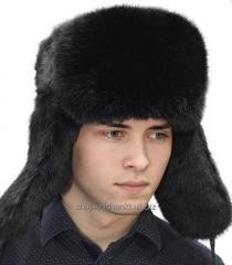 Men's cap with ear-flaps classical of fur of