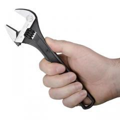 Ключ разводной 200мм,  Cr-V,  черный, ...