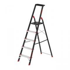 Стремянка 5 ступеней, лоток для инвентаря, стальной профиль, высота верхней ступени 1064мм, 457х893х1568мм, 150кг INTERTOOL LT-0055