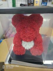 Мишка из роз 40см+коробка подарок девушке на 14