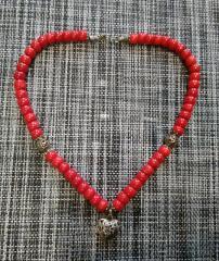 Буси намисто з коралу кулон серце 23 см форма