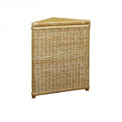 The laundry basket is an angular, wicker