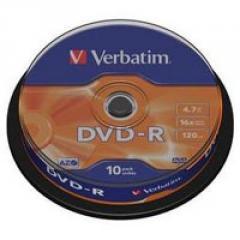 Диск DVD Verbatim 4.7Gb 16X CakeBox 10шт...