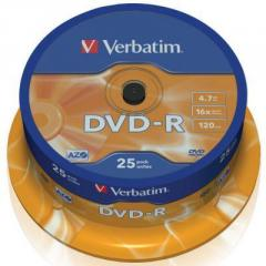 Диск DVD Verbatim 4.7Gb 16X CakeBox 25шт...