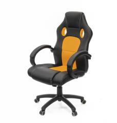 Кресло офисное Анхель, черно-оранжевый, эргономичное компьютерное кресло, PL TILT А-Клас