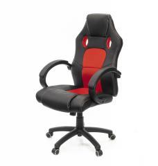Кресло офисное Анхель, черно-красный, удобное компьютерное кресло, PL TILT А-Клас