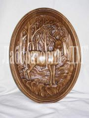 Souvenirs are carved, pictures from a tree on