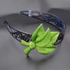Обруч для волос ажурный черный пластик листья с