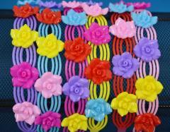Обруч для волос цветной пластик цветы